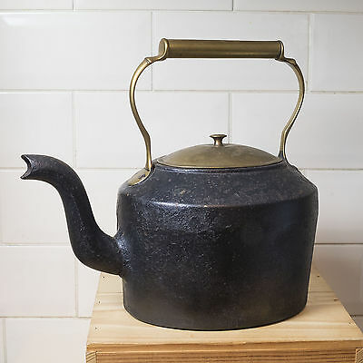 Antique Cast Iron Kettle No.3 - 7 Pints and Flat Iron No. 5