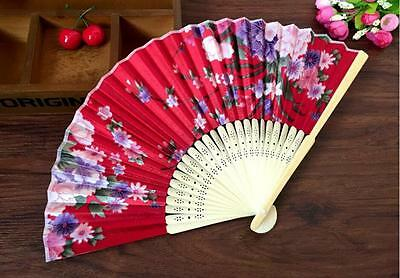Chinese Bamboo Folding Silk HAND FAN with Flowers Wedding Party Gift New