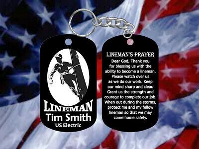 Lineman Dog Tag Keychain w/ Lineman Prayer - Super Hard Anodized - Personalized