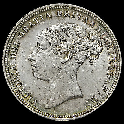 1881 Queen Victoria Young Head Silver Sixpence, Scarce, A/UNC #2