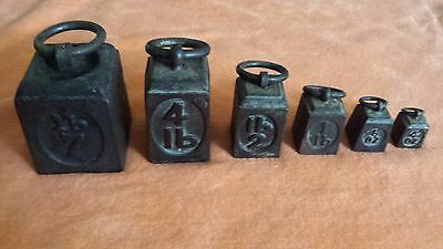 Vintage Antique Cast Iron Scale Weights With Ring Handles Set Of 6