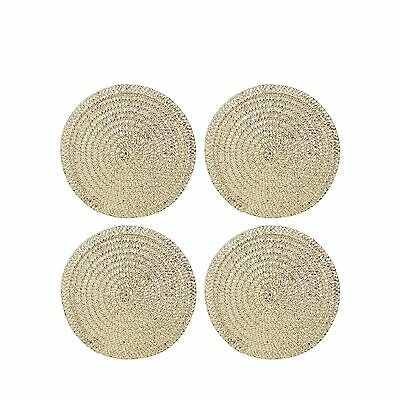Home Collection Set Of Four Gold Metallic Woven Coasters From Debenhams