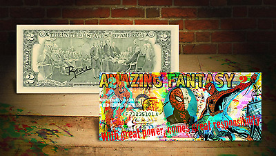 SPIDER-MAN Homecoming Vintage Genuine $2 U.S. Bill * HAND-SIGNED by Rency ART *