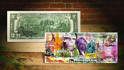 PLANET OF THE APES Banksy / Rency ART GENUINE US $2 Bill HAND-SIGNED *LTD to 217