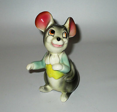 Mouse Salt Shaker Anthropomorphic Marked Foreign Coat Vest Green Yellow Gray