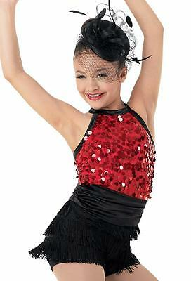 Dance Costume Small Adult Red Sequin Fringe Jazz Tap Clogging Solo Competition