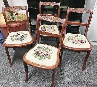 Set of 4 Matching Antique Needlepoint Floral Upholstery Carved Chair