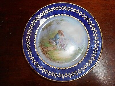 A Handpainted Sevres Courtship Plate With Gilt Metal Trim Artist Signed