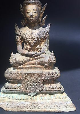 19th c Rattanakosin Crowned Buddha Bronze Burma Thai Statue Antique Figurine 8""