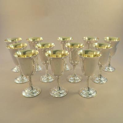Set 12 Sterling Goblets Lord Saybrook by International Gilded Interior