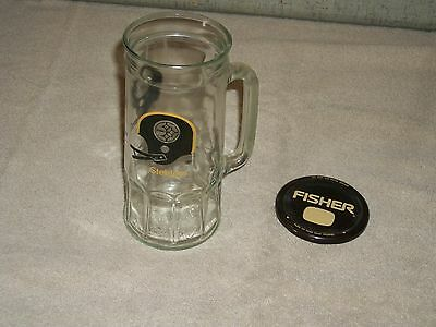 Vintage PITTSBURGH STEELERS FOOTBALL Fisher Peanut NFL Collector Mug lid beer