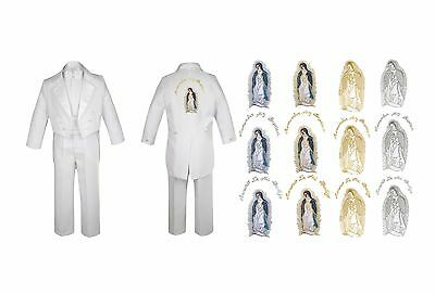 Baby Boy Kid Christening Baptism Church White Tail Suit Virgin Mary On Back Sm-7