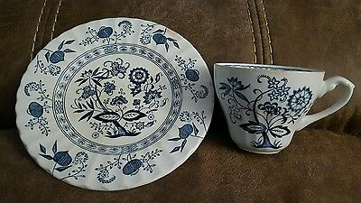 Vintage J.g. Meakin Classic Nordic Blue Onion Ironstone Salad Plate And Tea Cup