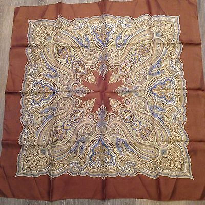 Liberty of London Silk Scarf Light Brown Border Muted Colors Paisley Vintage 23""