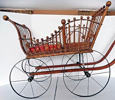 Antique VICTORIAN WICKER BABY DOLL PRAM CARRIAGE STROLLER with Photo late 1800s