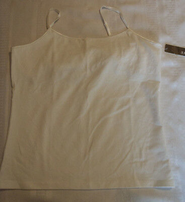 Ana Large Cool White Adjustabe Straps Cami Top Built in Bra NWT
