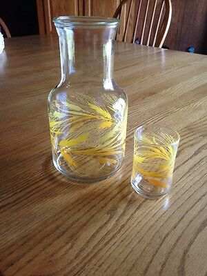 Vintage Libbey Golden Wheat Orange Juice Decanter with One Glass