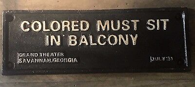 """Cast Iron Black Americana """"Colored Must Sit in Balcony"""" Plaque Wall Sign"""