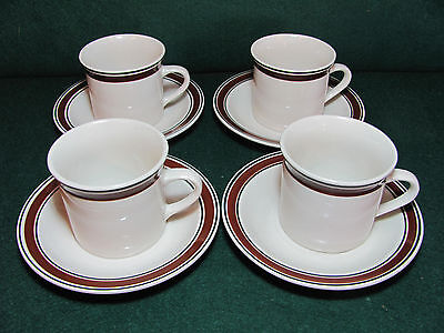 Tienshan Stoneware Halo Brown Set Of 4 Cups & Saucers