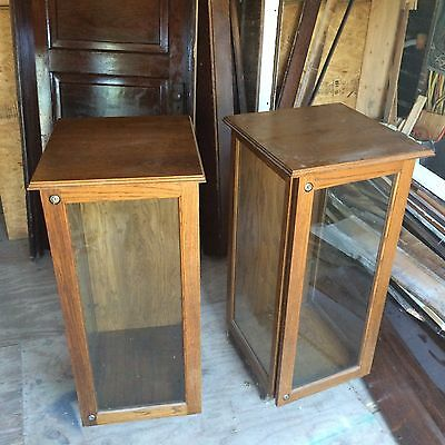 VINTAGE OAK And Glass Showcase TWO Display Cases WITH KEY