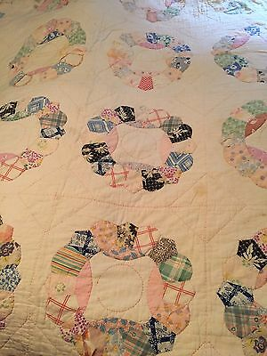 Vintage Hand Stitched Quilt Pink Dresden Plate Old Cutter Feed Sack