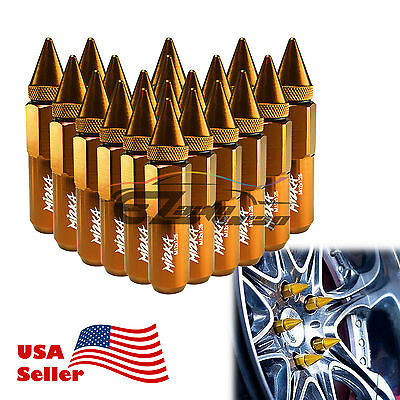 Gold 20 PCS M12X1.25 Lug Nuts Spiked Extended Tuner Aluminum Wheels Rims Cap