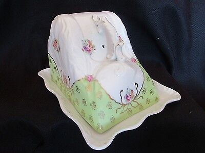 Antique Floral Porcelain Cheese/ Butter Dish C-1890,s 1900,antique Cheese Dish