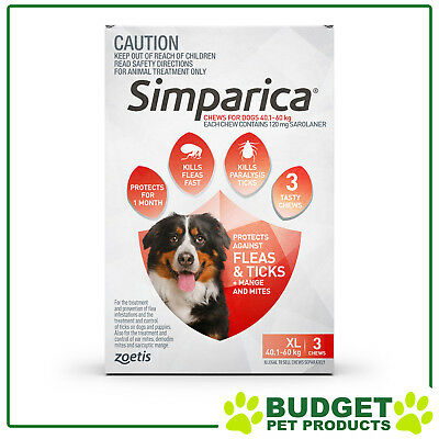Product Expiry: 11/19 - Simparica For Dogs 40.1- 60kg Red XLarge 3 Chews