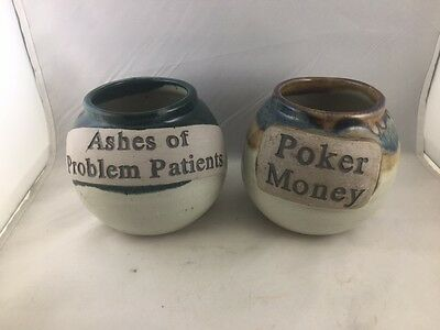 """Set of 2 glazed pottery jars Handcrafted by Tumbleweed 5"""" excellent"""