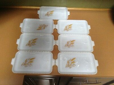 Vintage Fire-King Oven Ware 7 Pc. Set Wheat Design Luncheon Plates