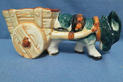 Vintage Japan Made Art Pottery Planter, A Green Donkey Pulling a Wood Cart