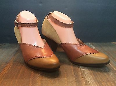 "Anthropologie Latigo ""harmony"" brown/tan leather ankle strap pumps shoes Sz 10"
