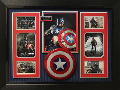 """Captain America Collage Signed by """"Steve Rogers"""" Chris Evans Display."""