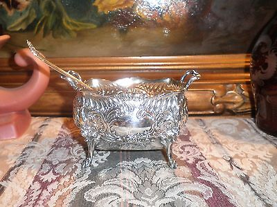 Antique Repousse Signed 925 Sterling Silver Rose Motif Spoon & Sugar Bowl