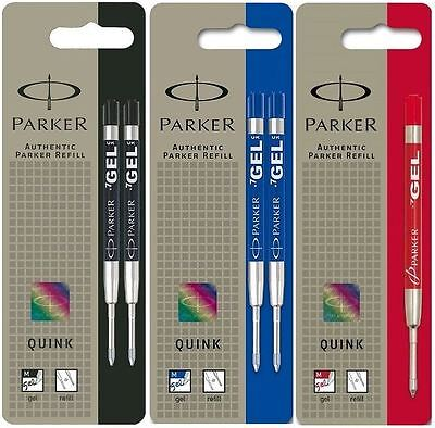 Parker Quink Gel Ballpoint Ball Pen Refill - Black, Blue or Red Ink