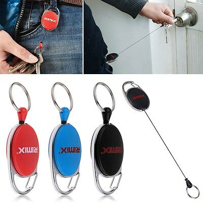 Retractable Recoil Key Ring Keychain Pull Chain Retractor Card Holder Belt Clip