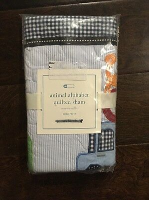 NEW Pottery Barn Kids PBK Baby ANIMAL ALPHABET Small Quilted Sham BLUE Gingham