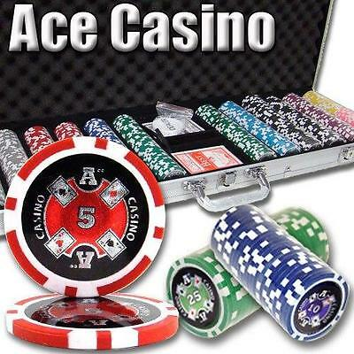 NEW 600 Piece Ace Casino 14 Gram Clay Poker Chips Set with Aluminum Case Custom