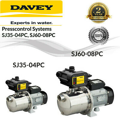 Davey SJ35-04PC SJ60-08PC Silver Series Garden Pump With Pressure Control
