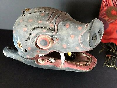 Old Javanese / Balinese Pigs Head Dancing Mask …beautiful old collection item