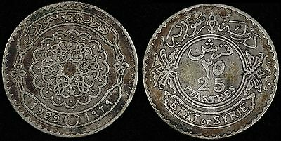 SYRIA Syrie 25 piastres, 1929, KM# 73, Scarce Silver coin