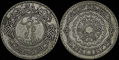 SYRIA Syrie 25 piastres, 1936, KM# 73, Scarce Silver coin