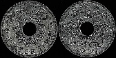SYRIA Syrie 1 piastre 1940 a, Zinc, KM# 71a UNC Choice Uncirculated