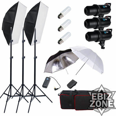AU Digital 900W Studio Flash Lighting set Photography Strobe light Portrait Kit