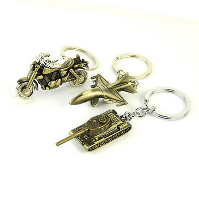 1PC Vintage Alloy Tank Air Plane Motorcycle Key Chain Ring Military Men Gift Box