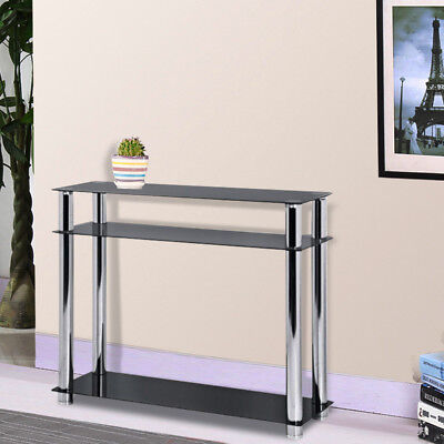 3-Tier Black Glass Console Table Stainless Steel Leg Hall Table Modern Furniture