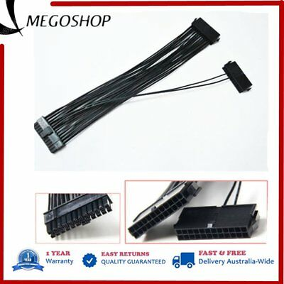 24Pin Dual PSU ATX Power Supply Adapter Cable Connector 30cm For PC Mainboard BU