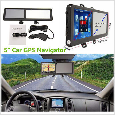 5'' TFT Touch Screen 8GB Bluetooth Car GPS Navigation MP3/MP4/FM&Rearview Mirror
