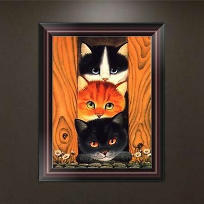 DIY Cute Cat 5D Diamond Embroidery Painting Cross Stitch Craft Home Wall Decor
