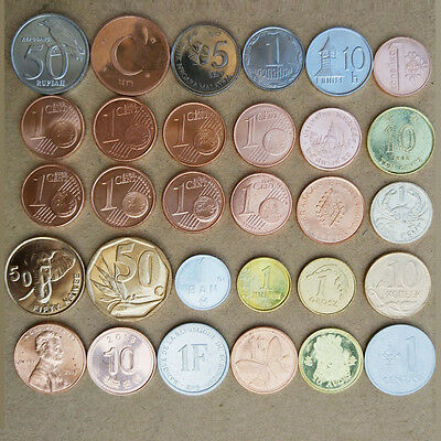 World Foreign Coins Collection Lots. 30 countries and regions (30pcs/Set)